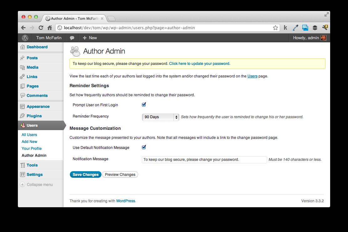 Author Admin options