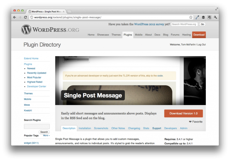 Single Post Message For WordPress