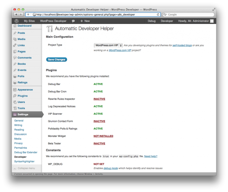 Plugins For WordPress Developers - Status Page