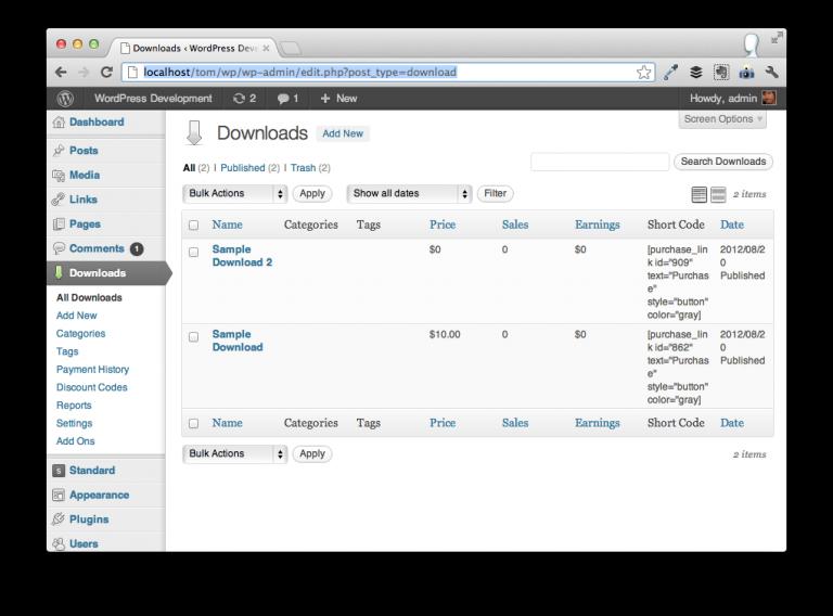 Easy Digital Downloads Dashboard