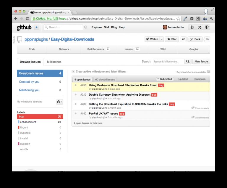 Easy Digital Downloads Open Issues