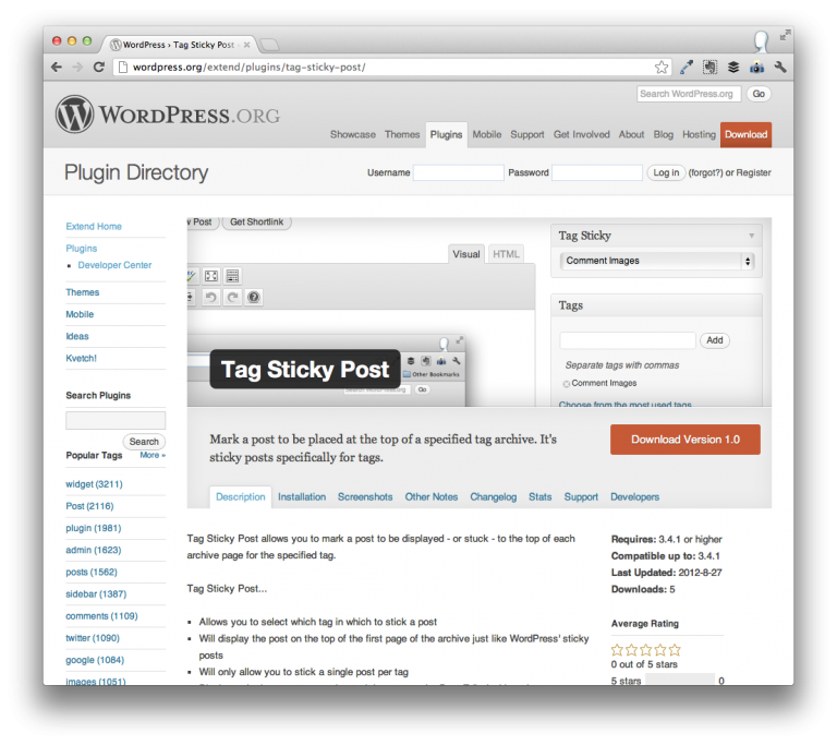 Tag Sticky Post For WordPress
