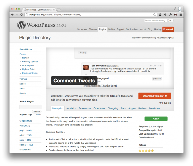 Comment Tweets For WordPress