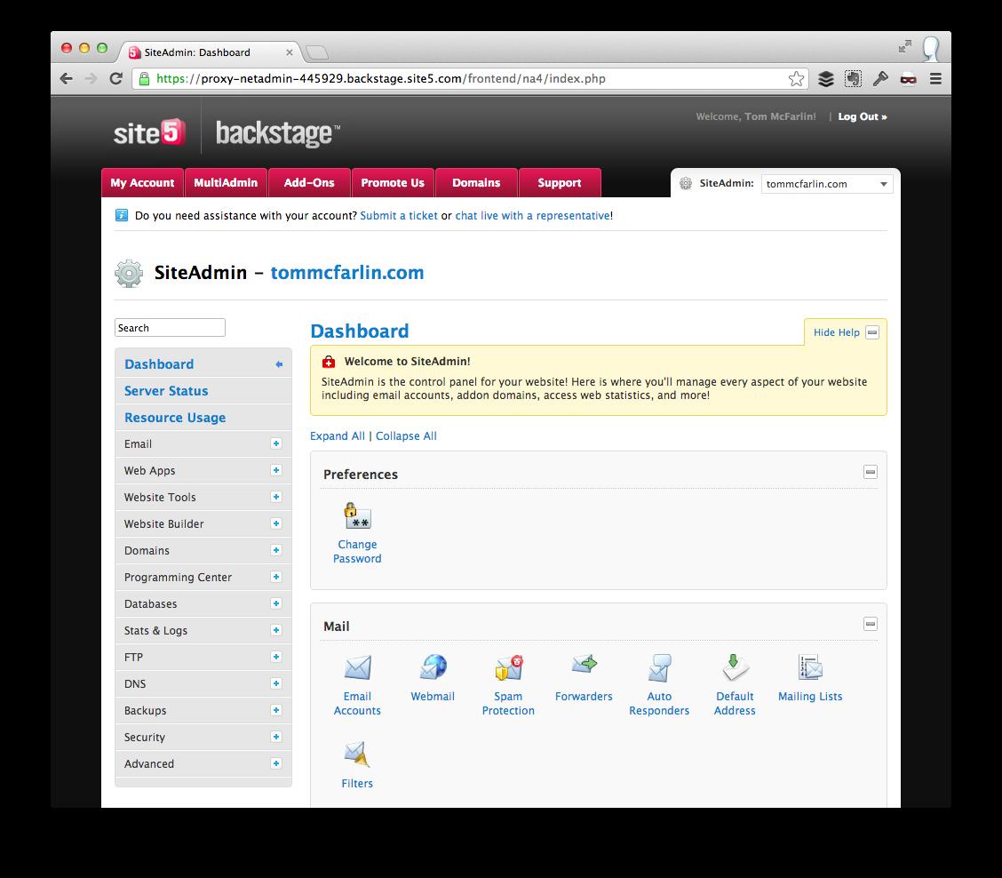 Preferred WordPress Hosting - Site5 cPanel