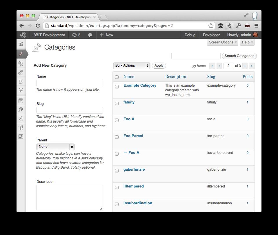 Programmatically Create Categories in WordPress