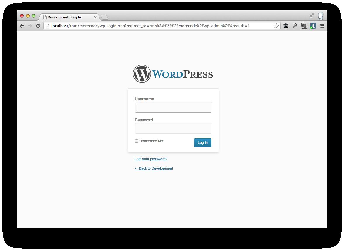 The WordPress Login Screen
