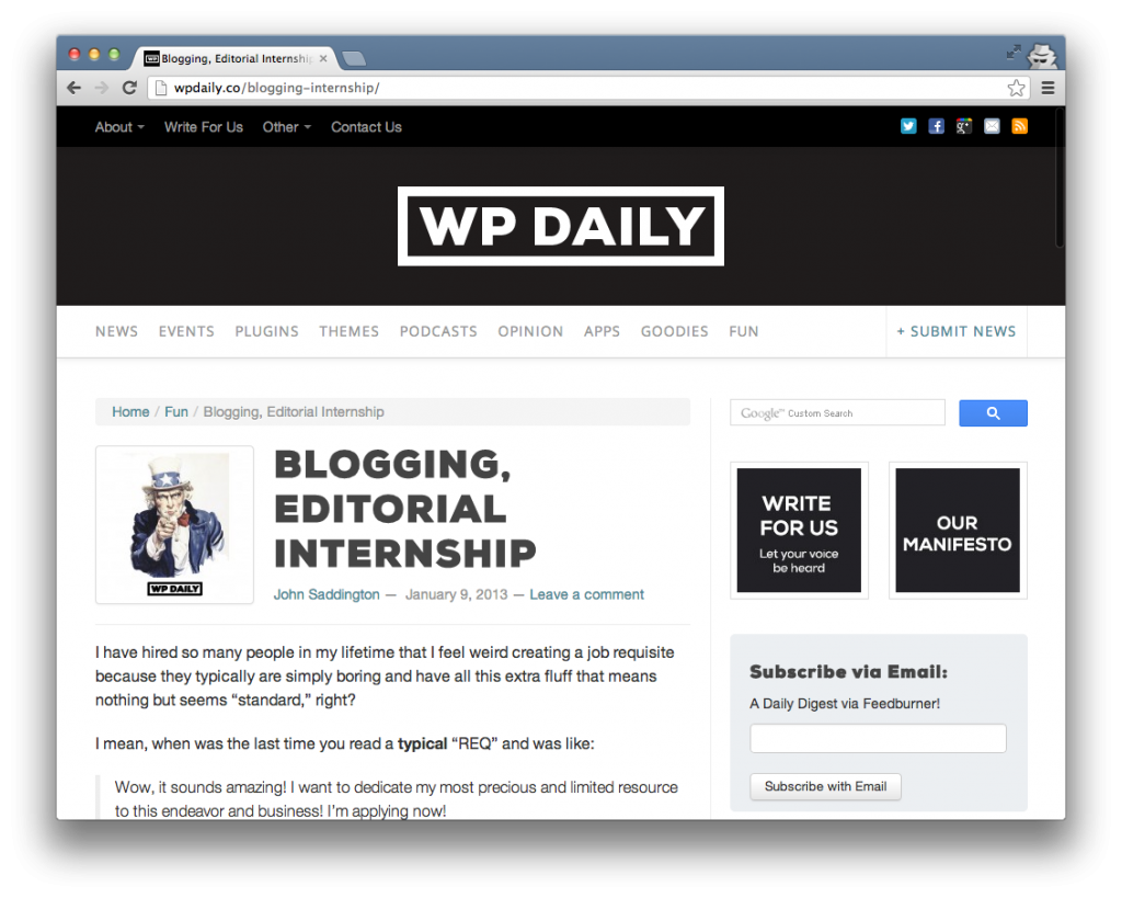 WP Daily Blogging Internship