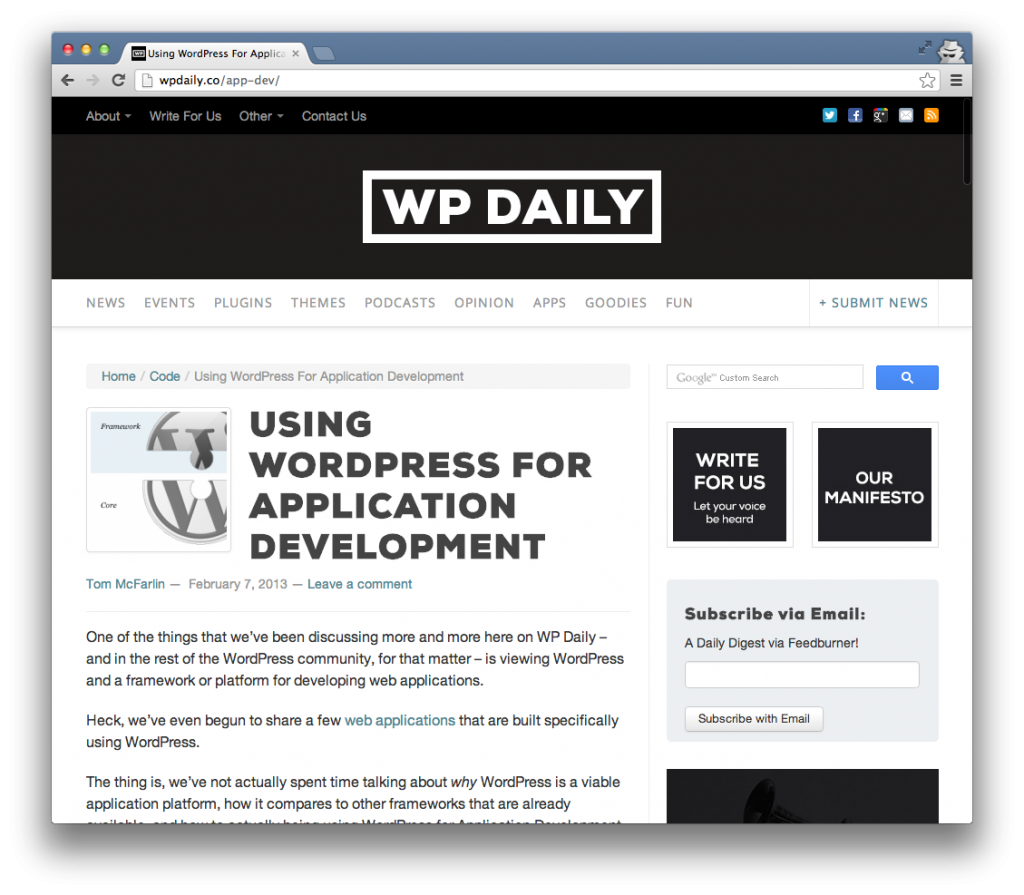 Using WordPress For Application Development