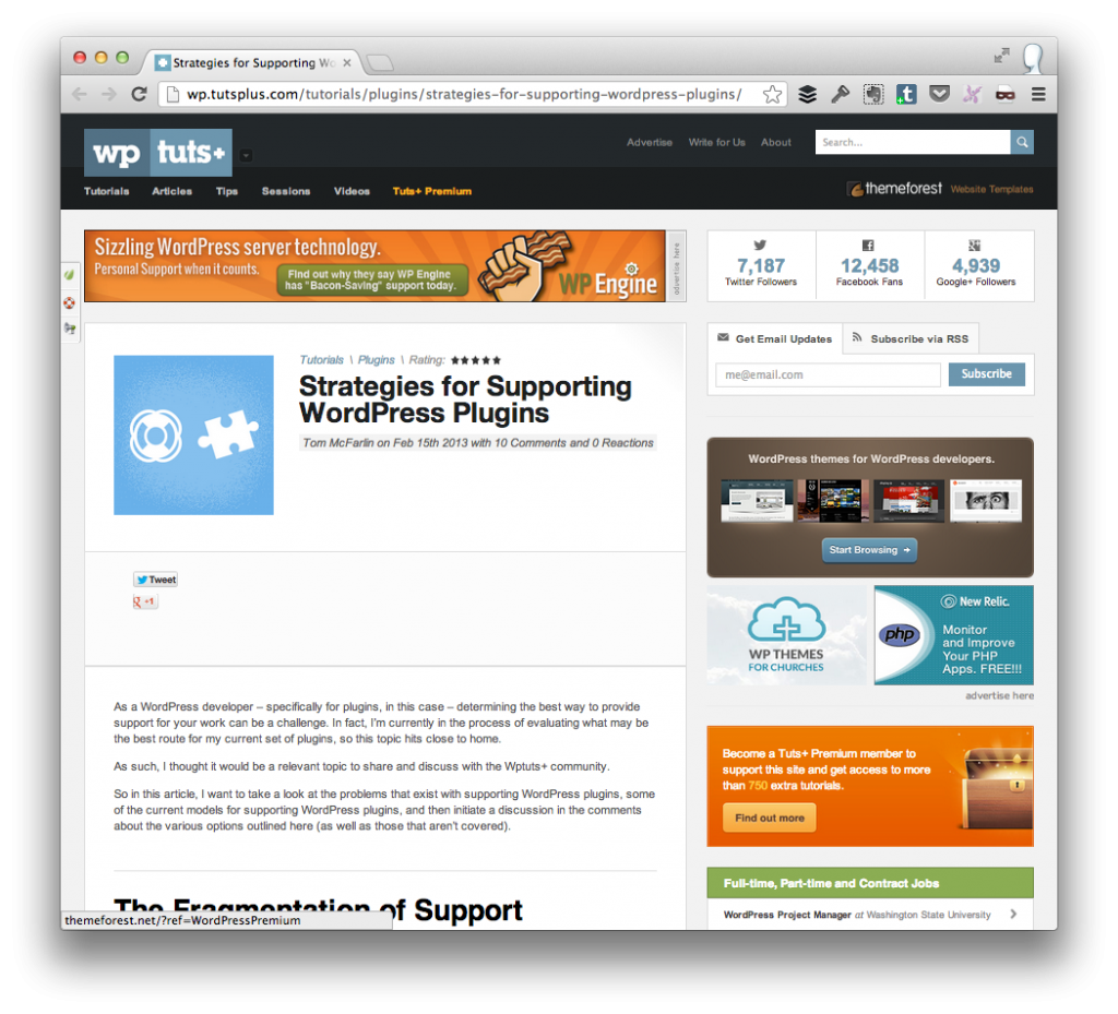 Supporting WordPress Plugins