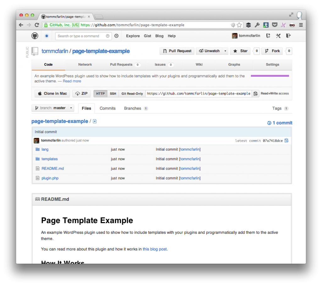 Page Template Example Plugin