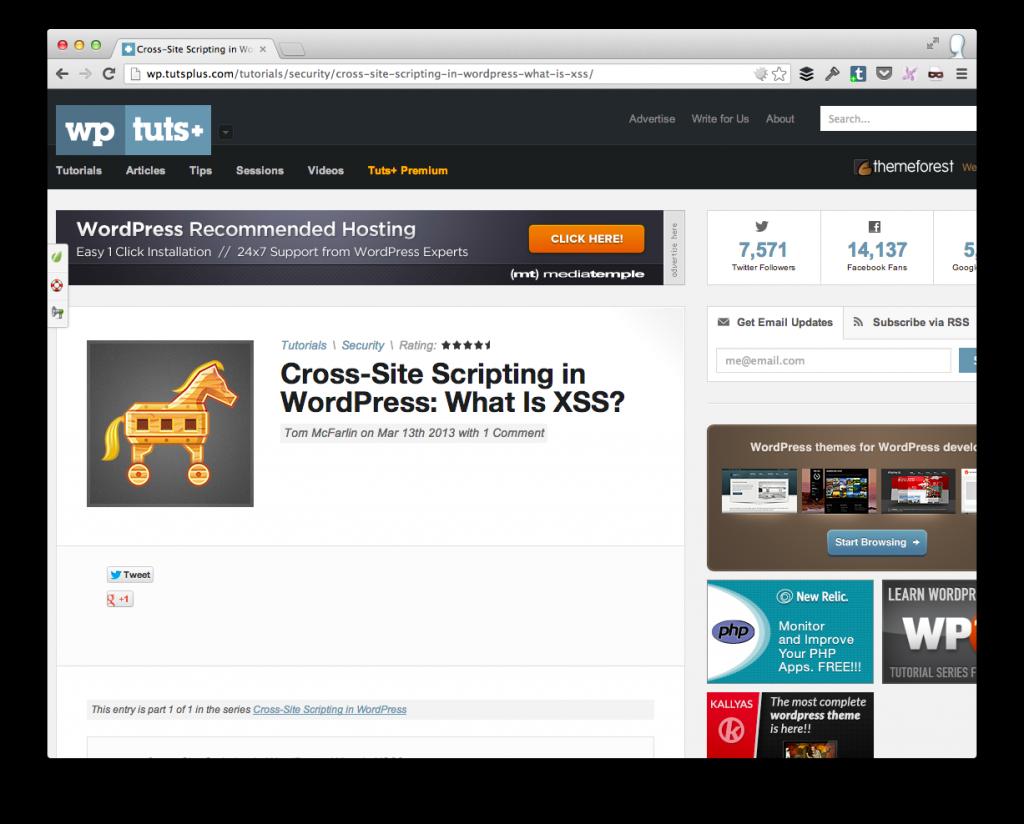 Cross Site Scripting in WordPress