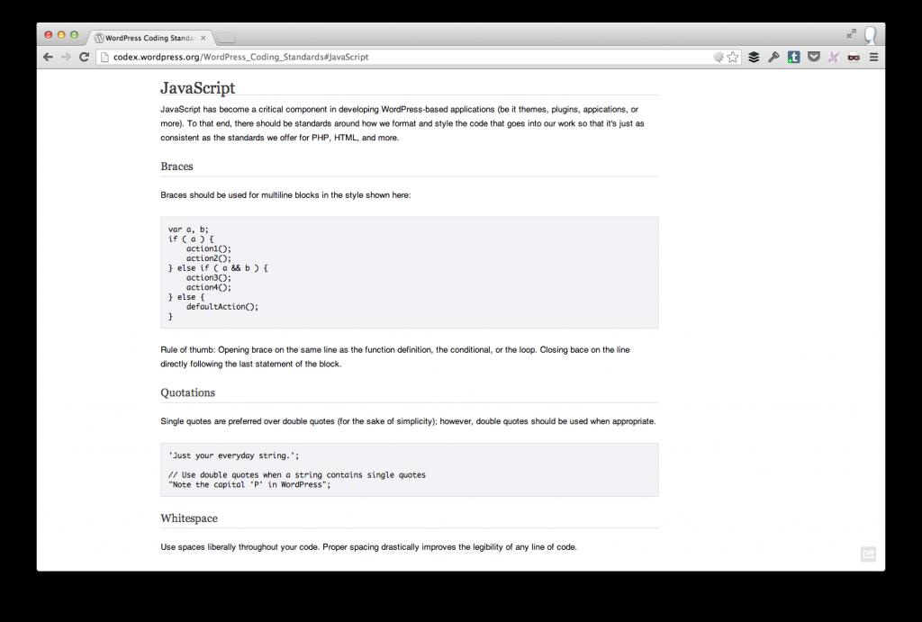 WordPress JavaScript Coding Standards