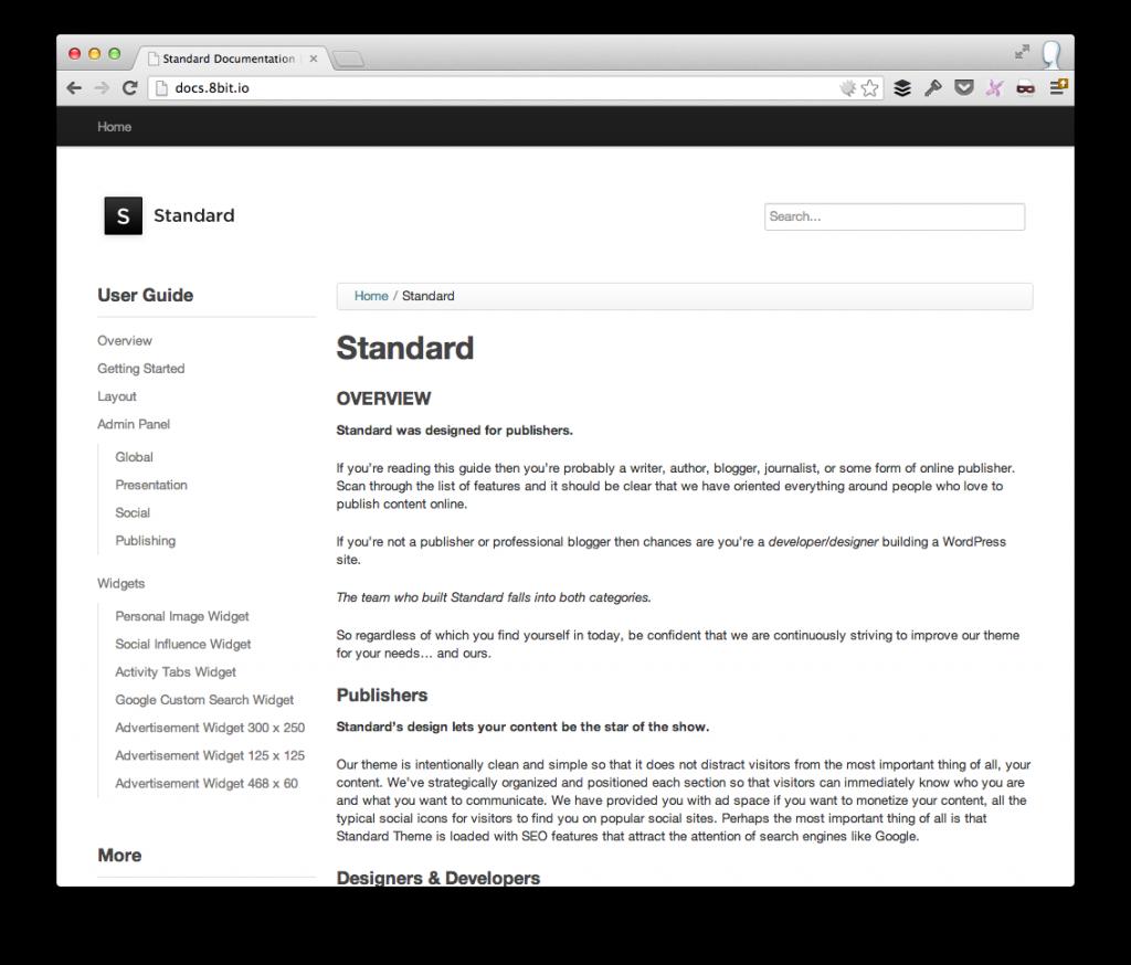 Standard Theme Documentation