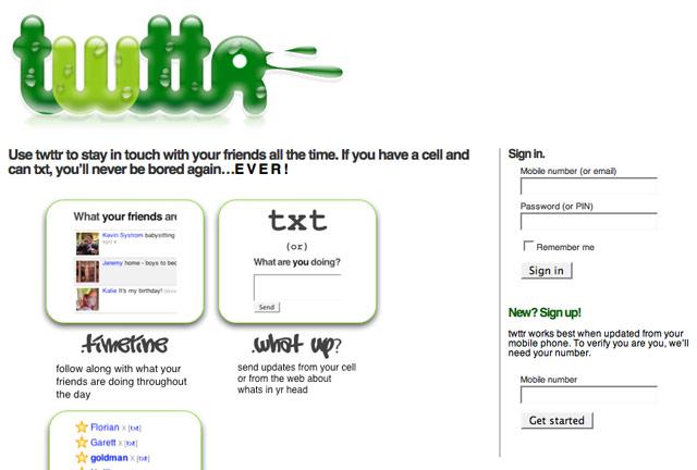 The Original Twitter Homepage