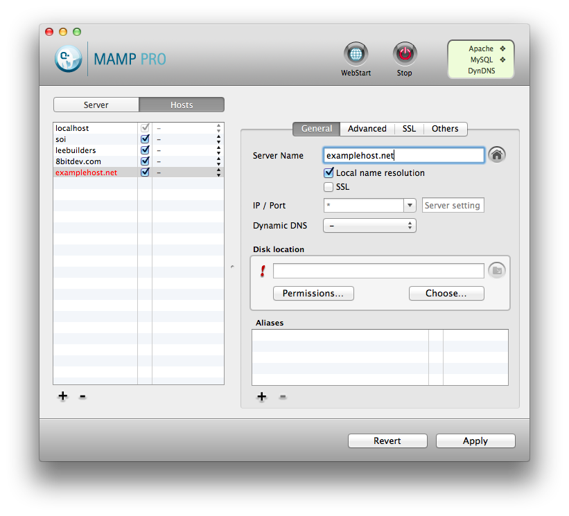 MAMP New Host