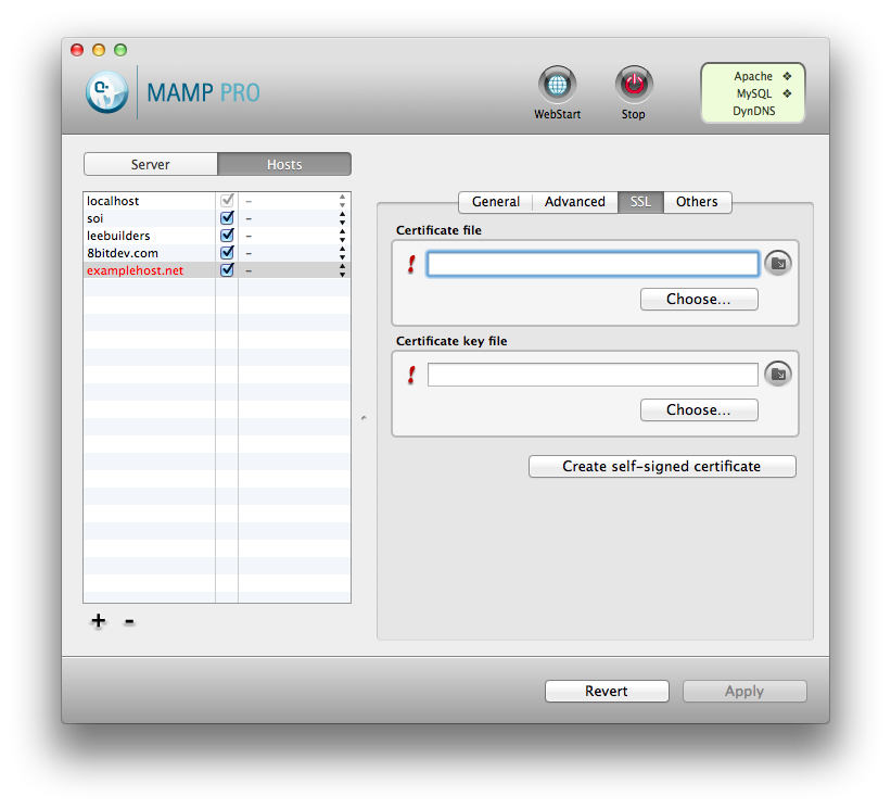 MAMP SSL Tab