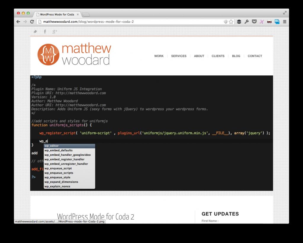 WordPress Mode For Coda 2