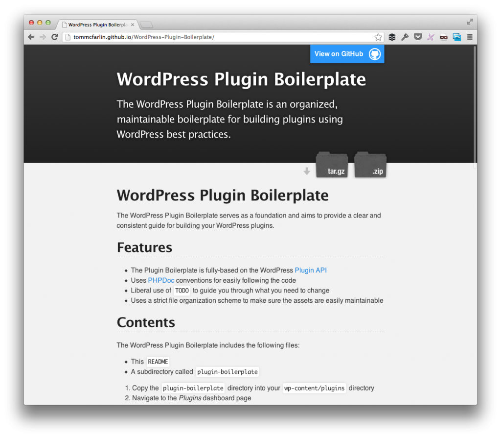 WordPress Plugin Boilerplate Homepage