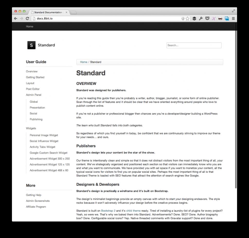 The Standard Theme User Manual on WordPress