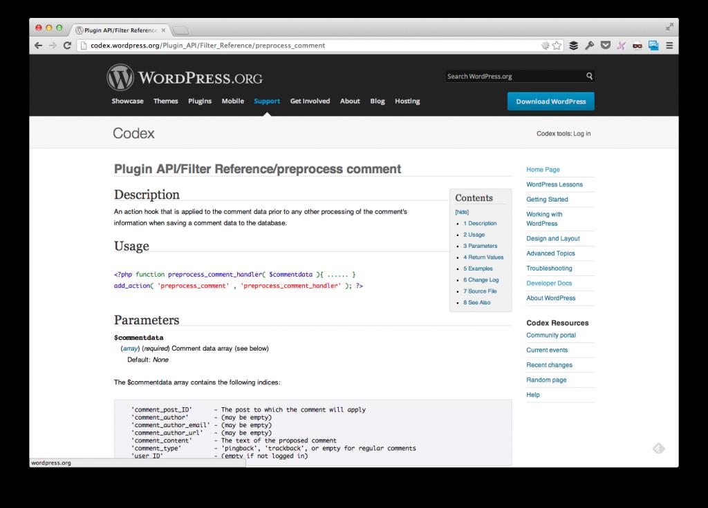 WordPress Preprocess Comment