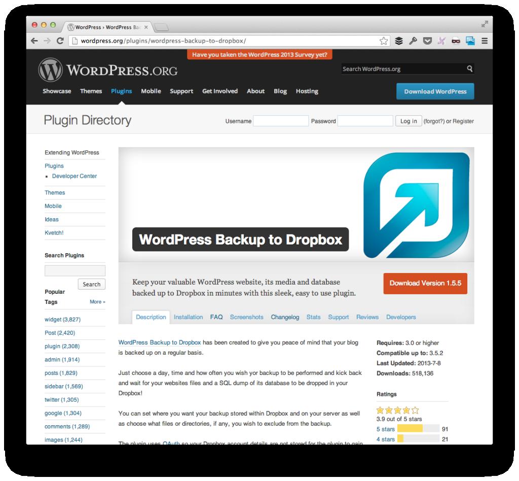 WordPress To Dropbox