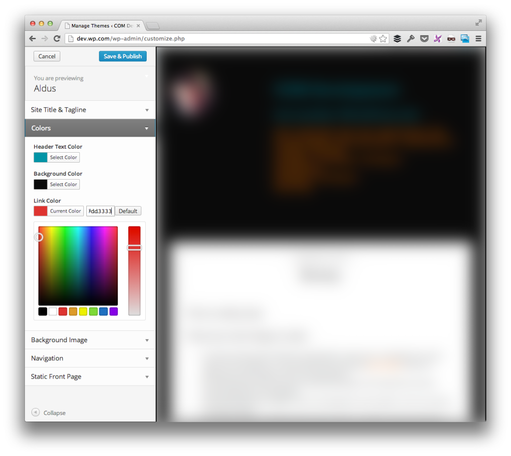 WordPress Theme Customizer Link Color