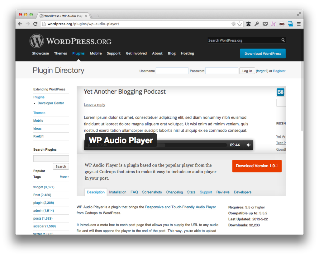 WP Audio Player For WordPress
