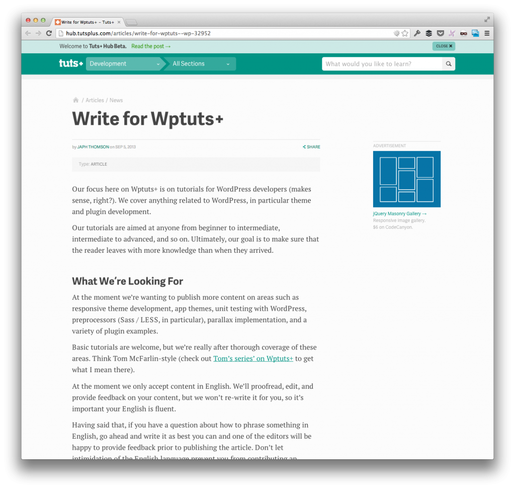 Write For WPTuts