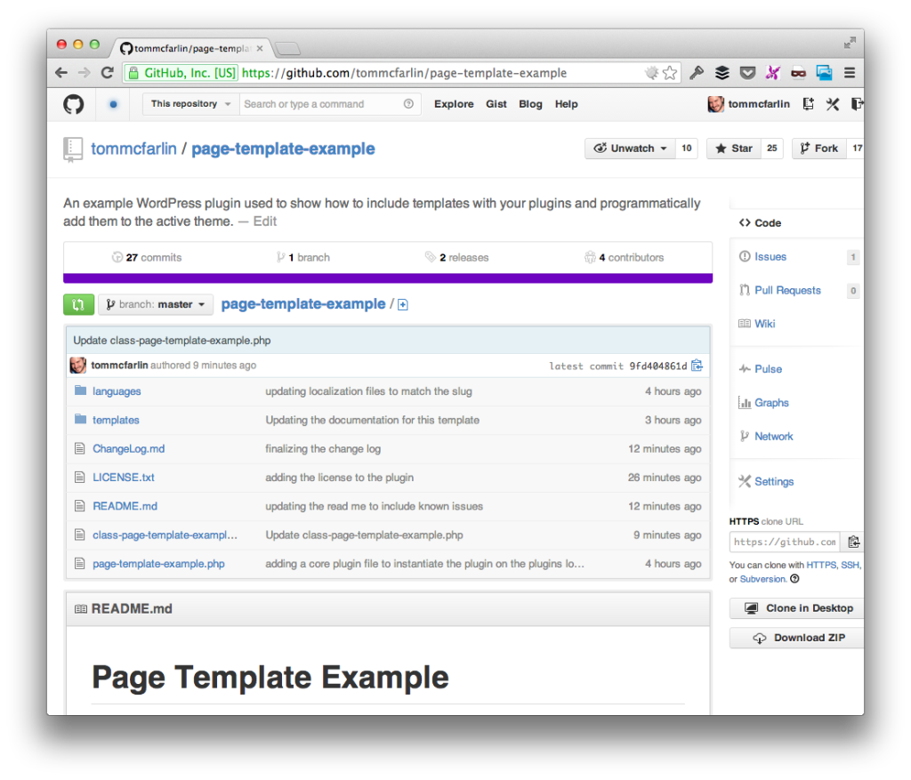 Page Template Example