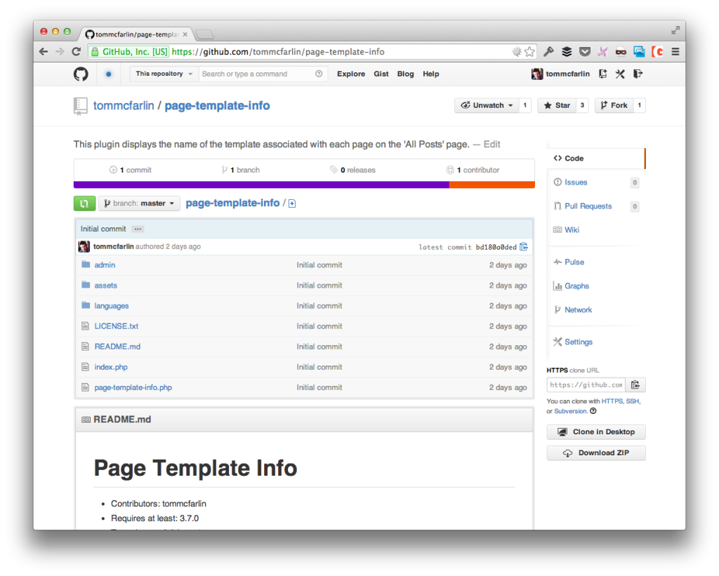 The Page Template Info Plugin on GitHub