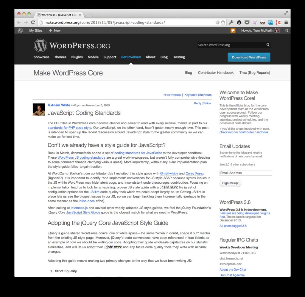 The WordPress JavaScript Coding Standards