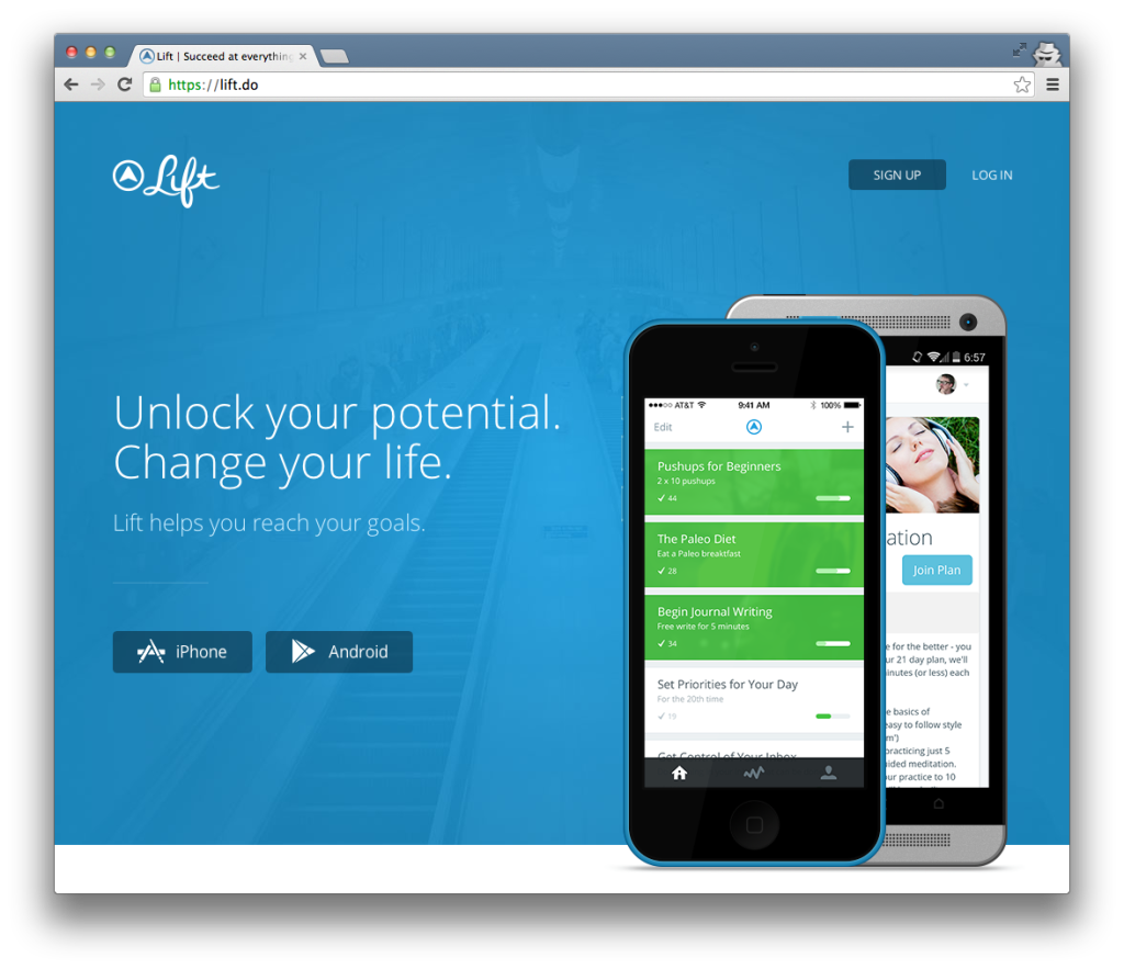 The Lift App Homepage