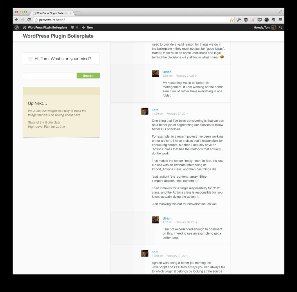 The WordPress Plugin Boilerplate Backchannel