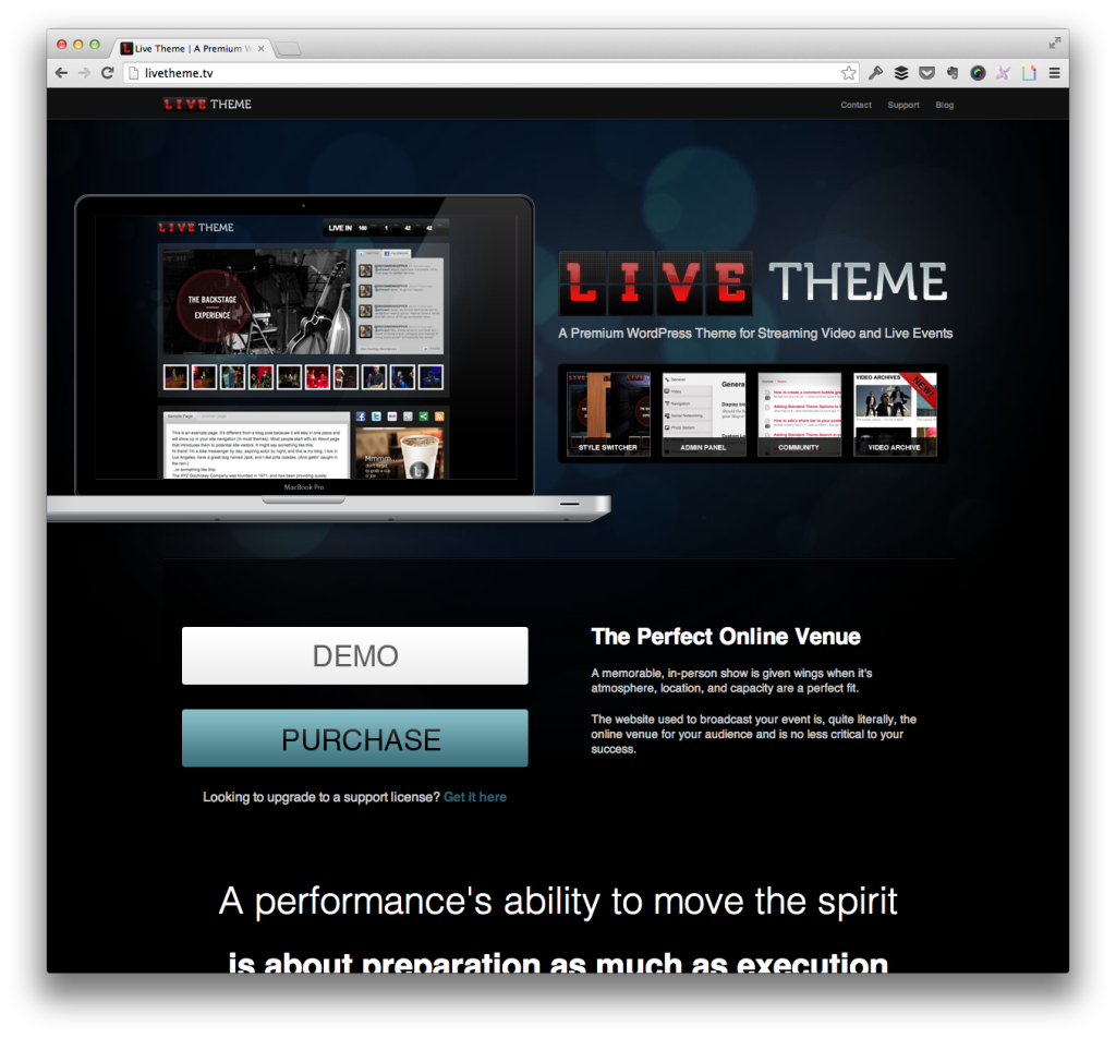 Live Theme For WordPress