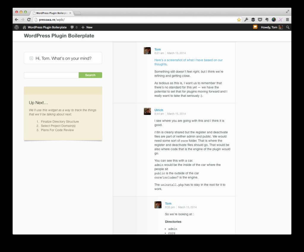 WordPress Plugin Boilerplate Backchannel