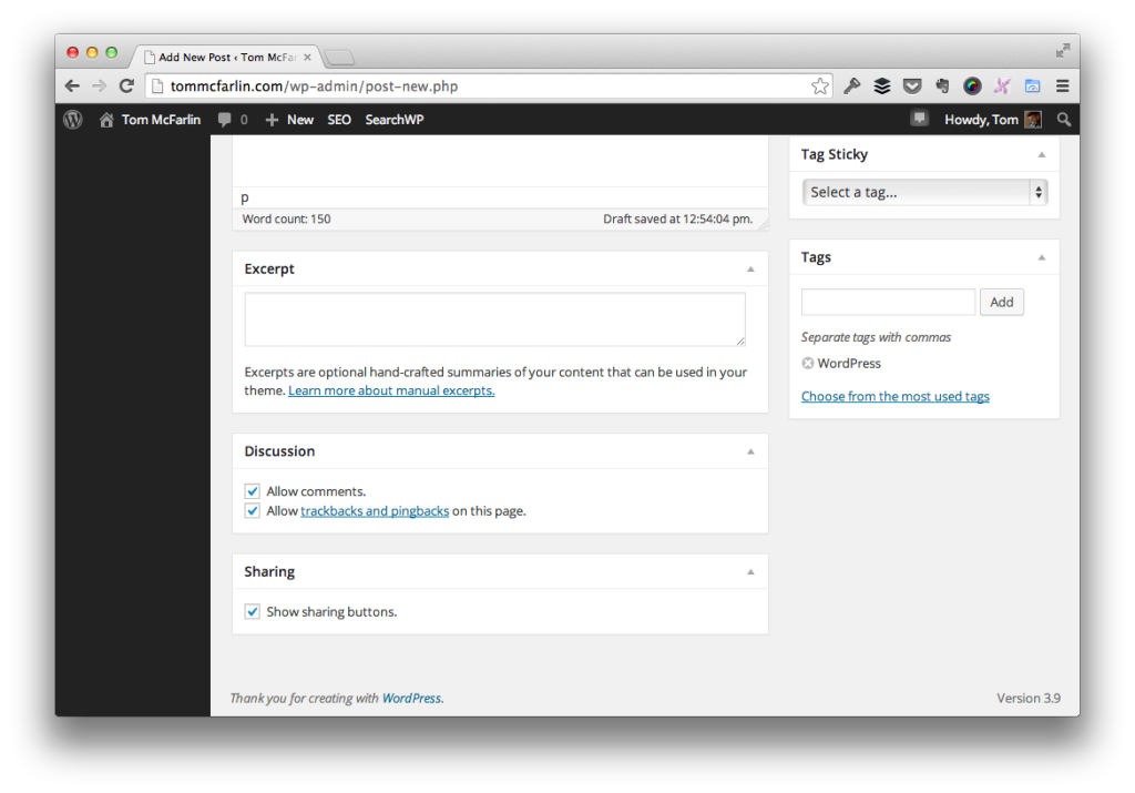 Standard WordPress Meta Boxes