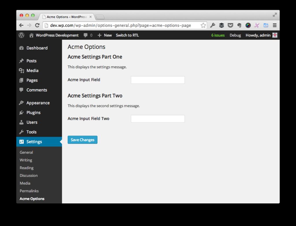 WordPress Options Page