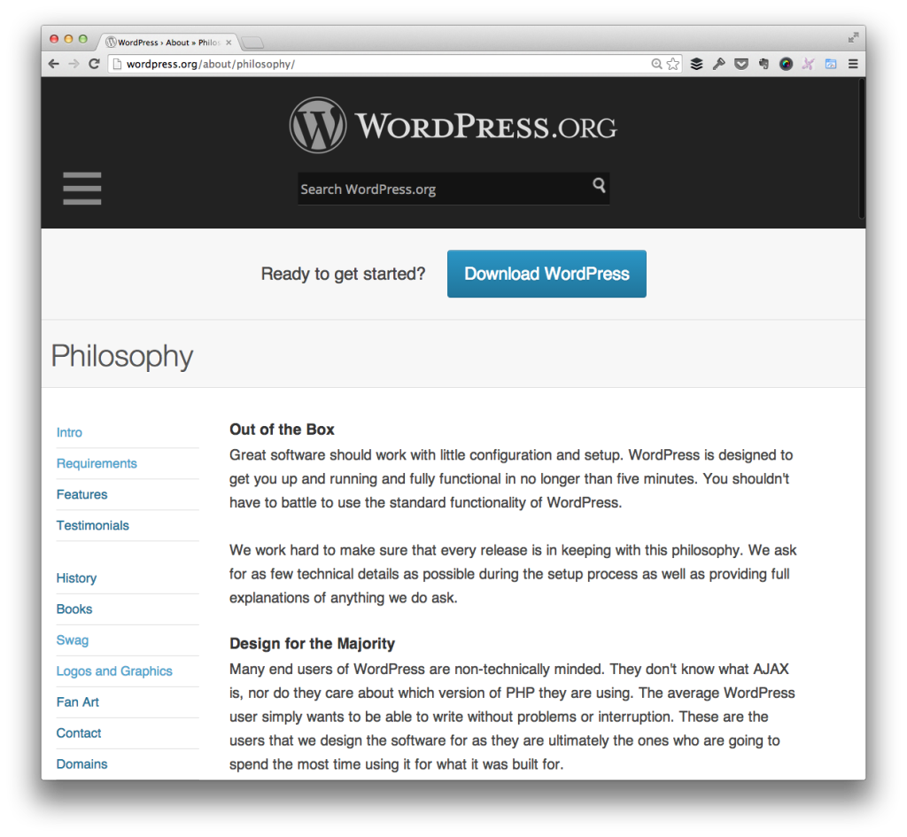 The WordPress Philosophy: Design for the Majority