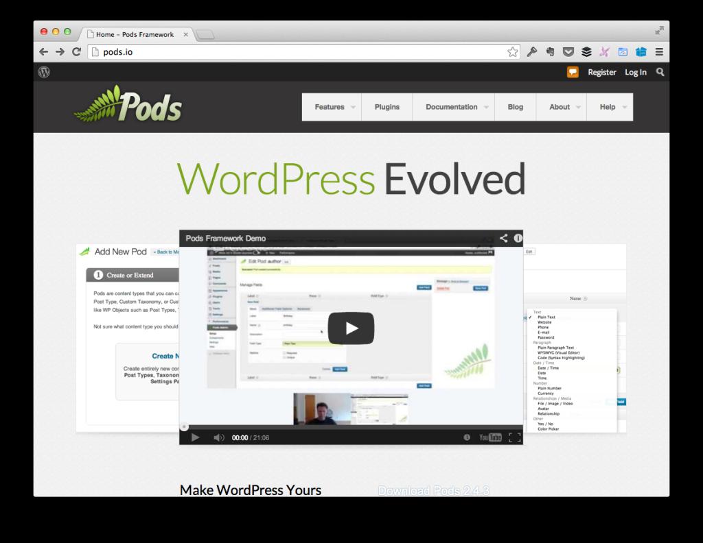 Pods Framework Homepage