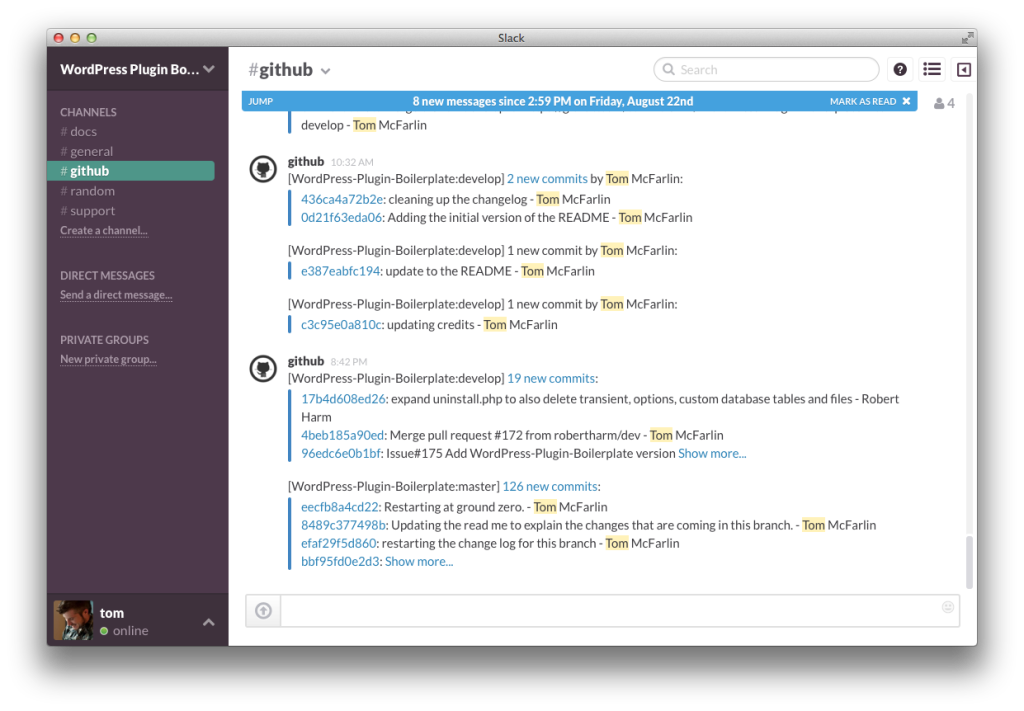 WordPress Boilerplate Plugin Slack