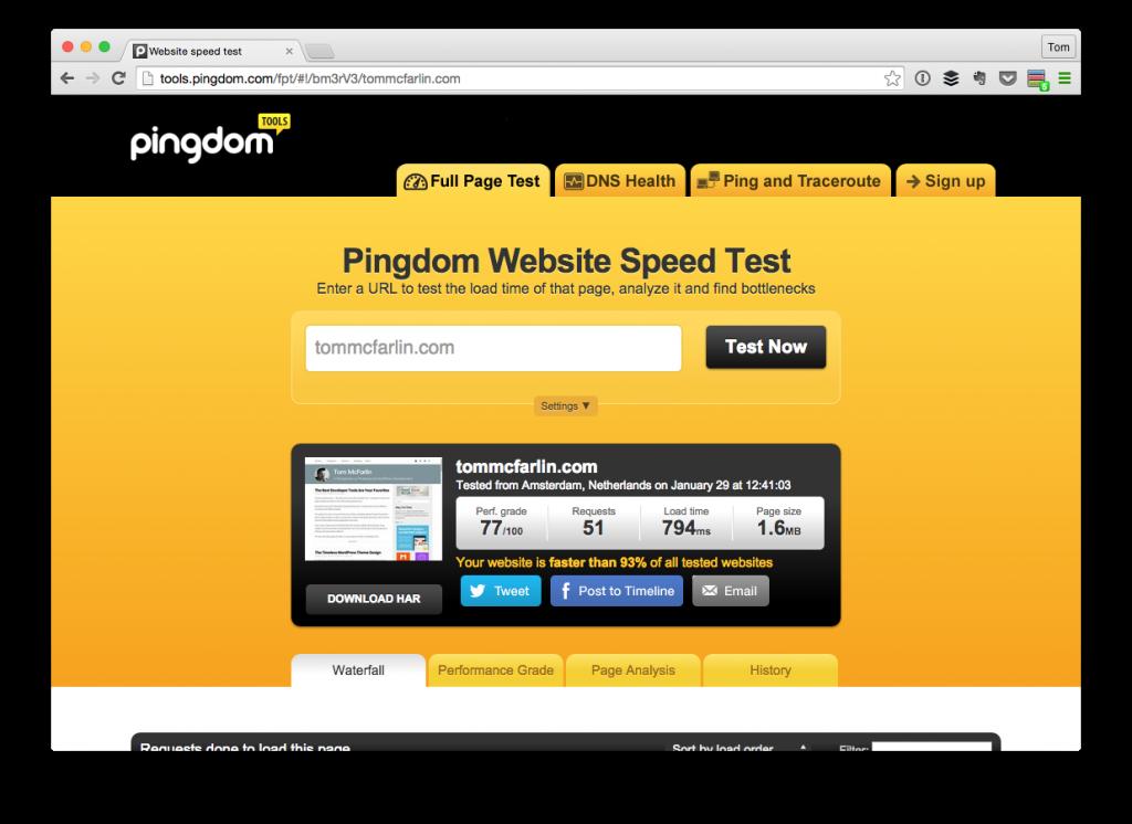 Pingdom Results