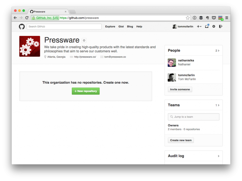 The current GitHub page for Pressware