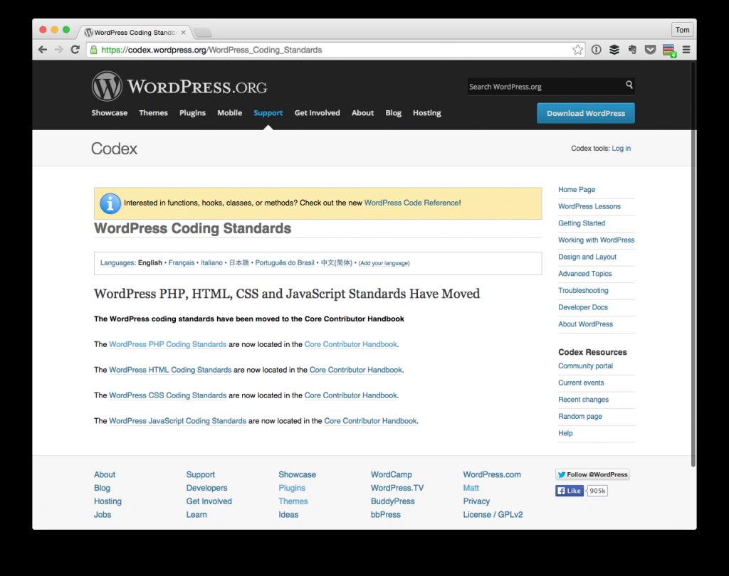 The WordPress Coding Standards