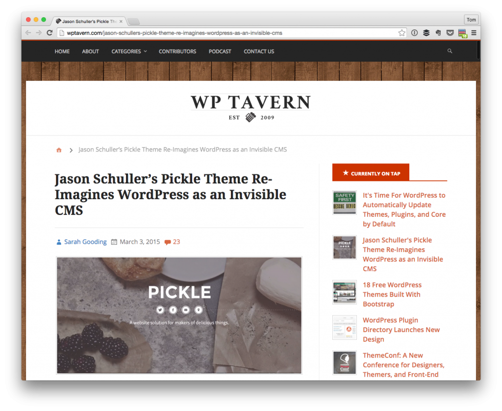 Jason Schuller's Pickle Theme Re-Imagines WordPress as an Invisible CMS