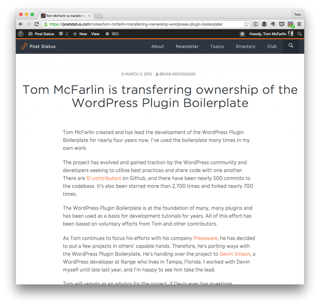 WordPress Plugin Boilerplate on Post Status