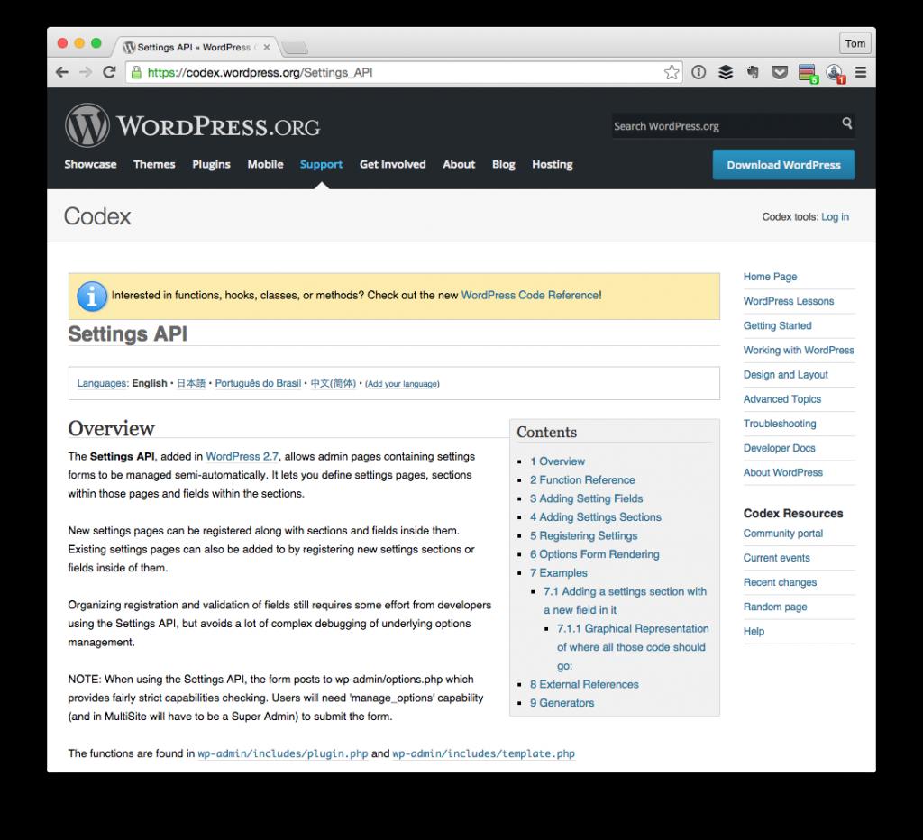 The WordPress Settings API