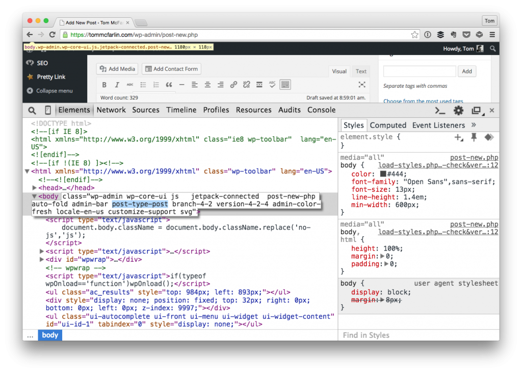 Access the Post Type via JavaScript