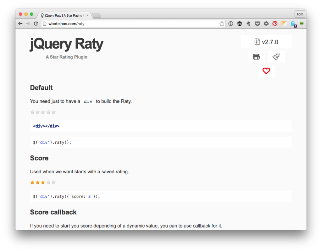 jQuery Raty - Star Ratings