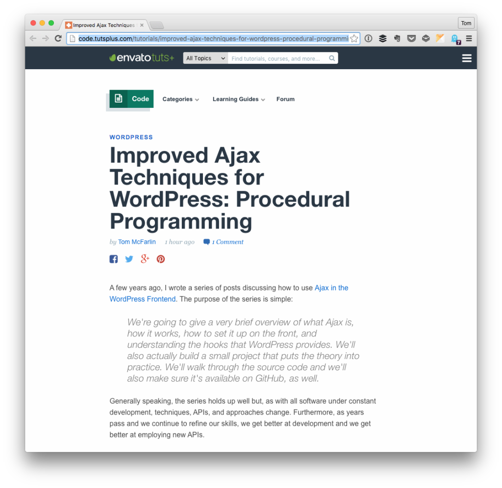 Ajax in WordPress: Procedural Programming
