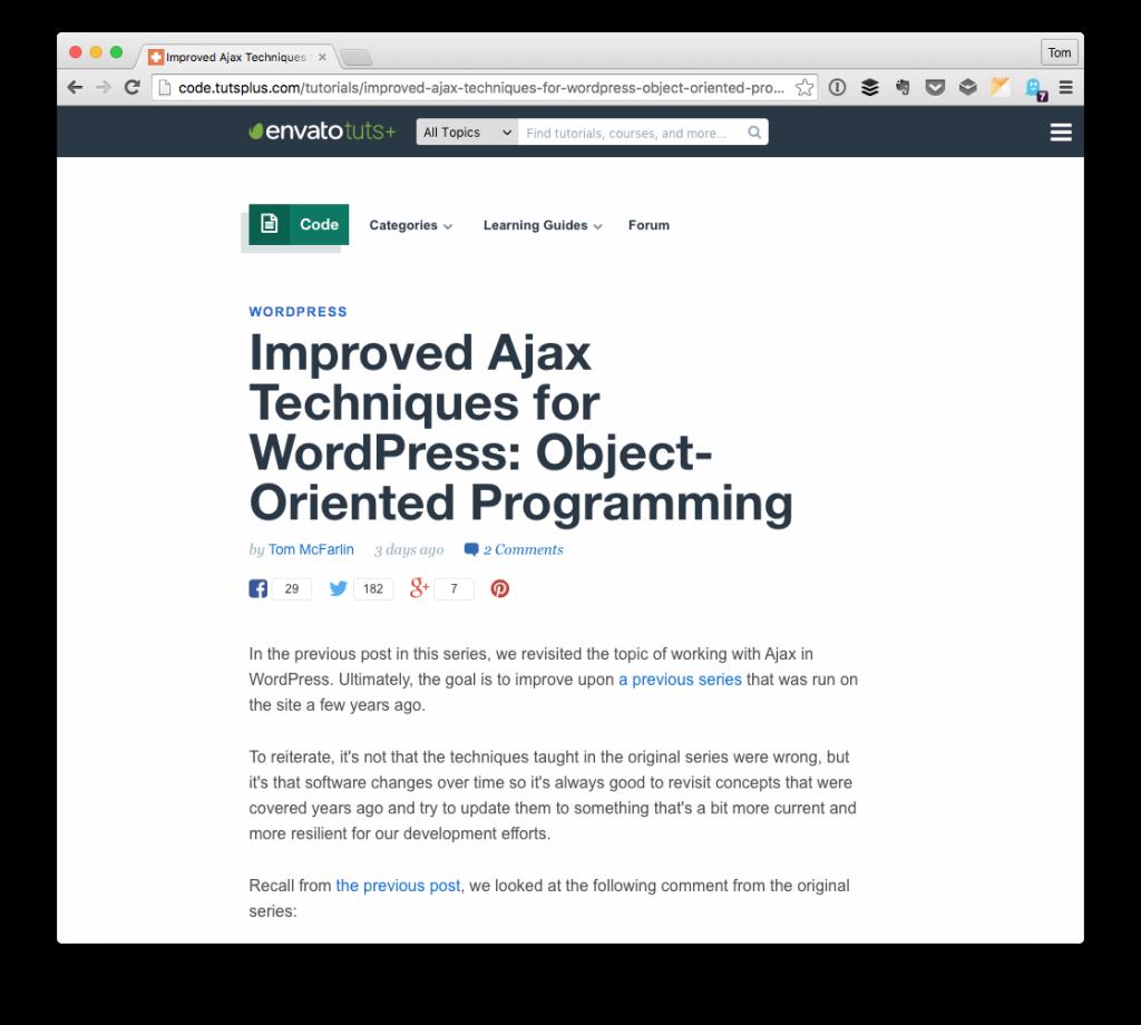 Object-Oriented Ajax in WordPress